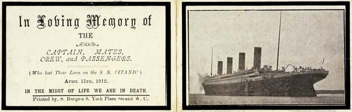 Titanic memorial cards