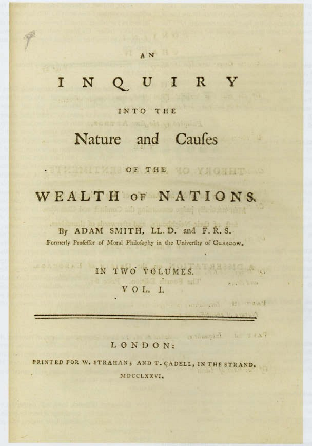cd46a42221f81 The 1776 first of Adam Smith s An Inquiry into Nature and Causes of the  Wealth of Nations sold at Hansons  Bishton Hall auction for £65