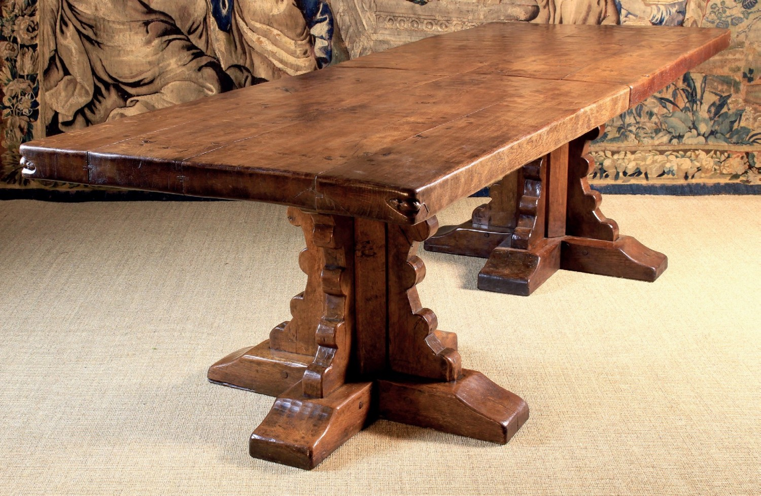 Featuring First Generation Mice With Whiskers And Front Paws This Pedestal Dining Table Formed Part Of A Suite Mouseman Furniture From