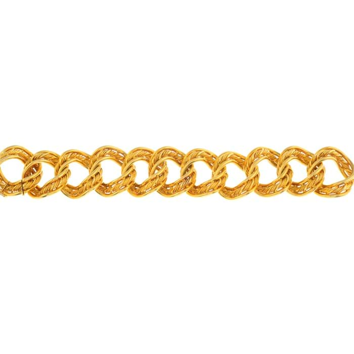5. Lot 171: A 1960s 18ct gold bracelet signed Kutchinsky, with hallmarks for London 1968 and maker's case. Estimate: £6000-8000