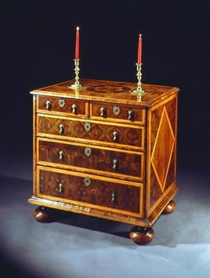 3 CADA Fair W. R. Harvey William and Mary oyster veneered Laburnam and inlaid chest of drawers 1.jpg