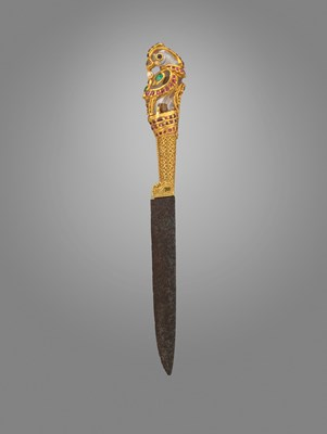 ceremonial dagger with parrot-shaped hilt from India