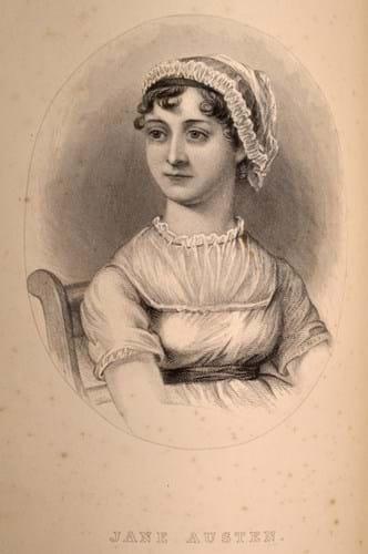 A woodcut of Jane Austen