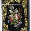 Victorian card case inlaid in mother-of-pearl