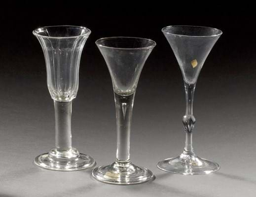 Wine glasses from the Albert Hartshorne collection, sold at Bonhams