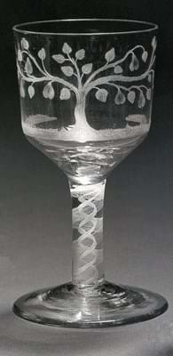 Goblet with an opaque twist stem sold at Bonhams