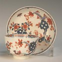 Lowestoft porcelain tea bowl and saucer