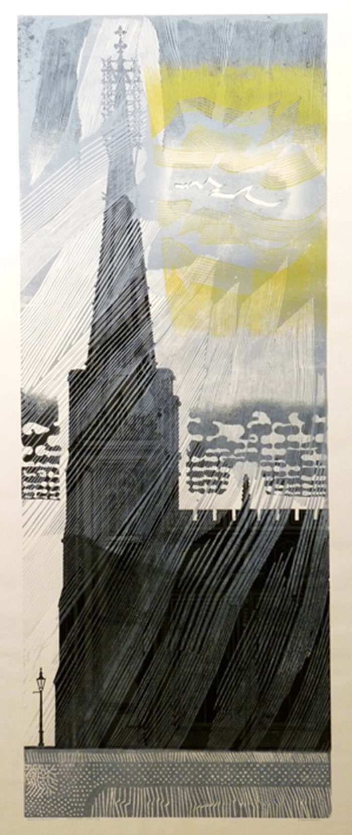 Church and Thunderstorm linocut  by Edward Bawden