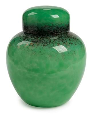 Monart jar and cover in mottled green