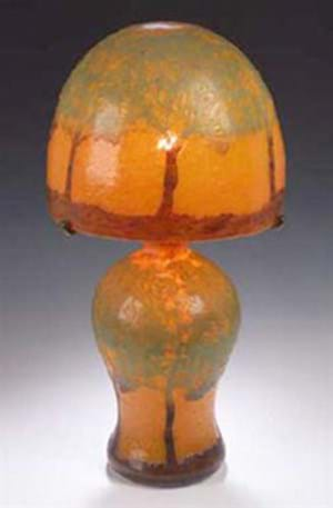 Monart  lamp in mottled orange glass