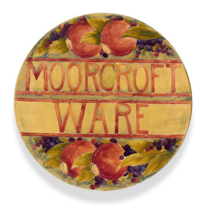 Moorcroft advertising plaque in Pomegranate design