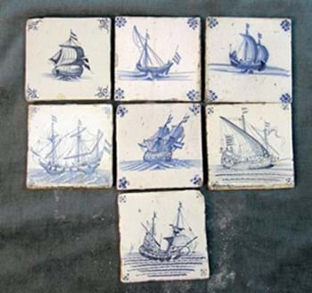 Blue and white Dutch Delft tiles