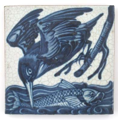 William De Morgan tile with a Kingfisher