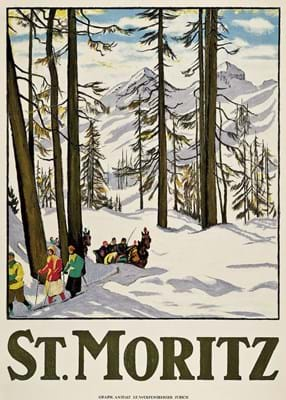 Vintage Poster St Moritz winter scene by Emil Cardinaux