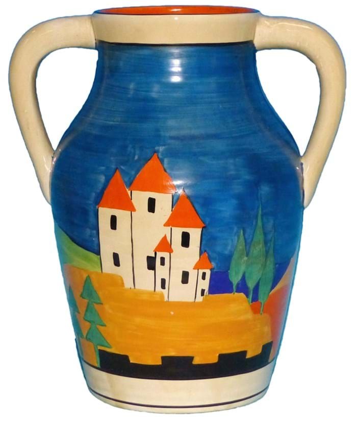 Clarice Cliff lotus vase in Blue Lucerne pattern