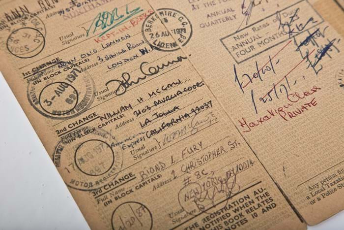 Registration John Lennon signature