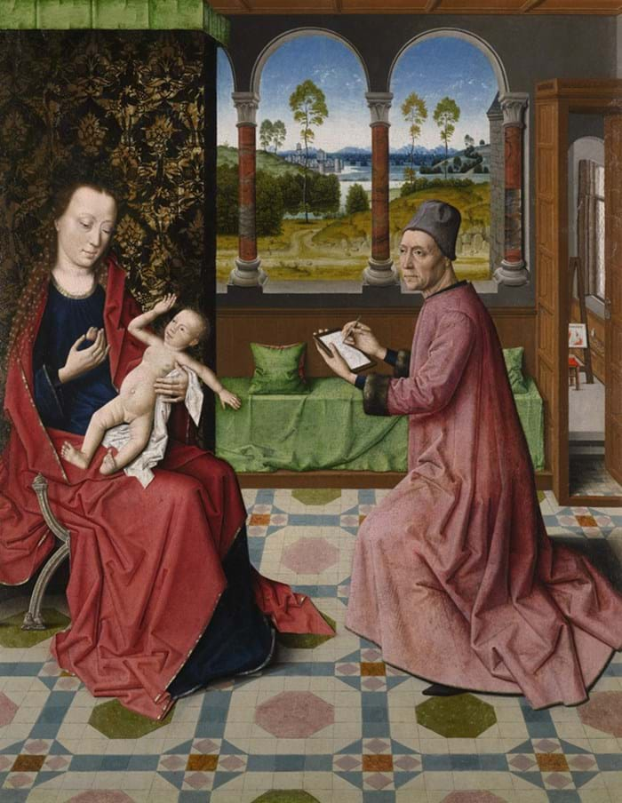 St Luke Drawing the Virgin and Child is attributed to the workshop of Dieric Bouts the Elder