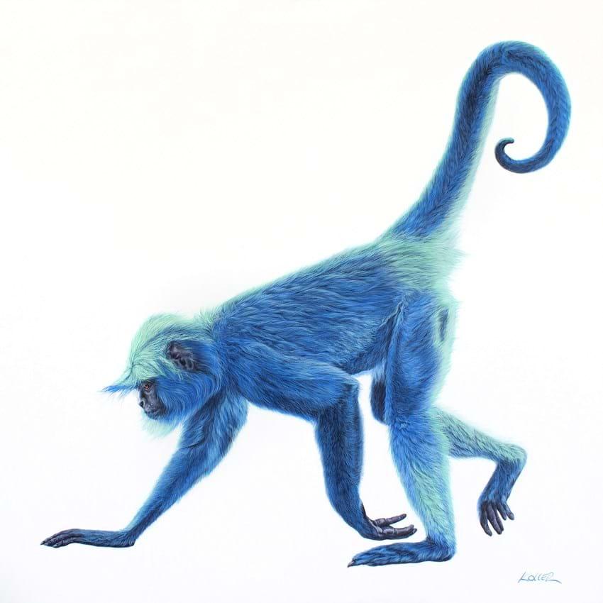 Helmut Koller painting Blue Monkey