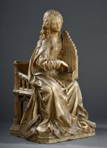 alabaster statuette of Saint Cecilia